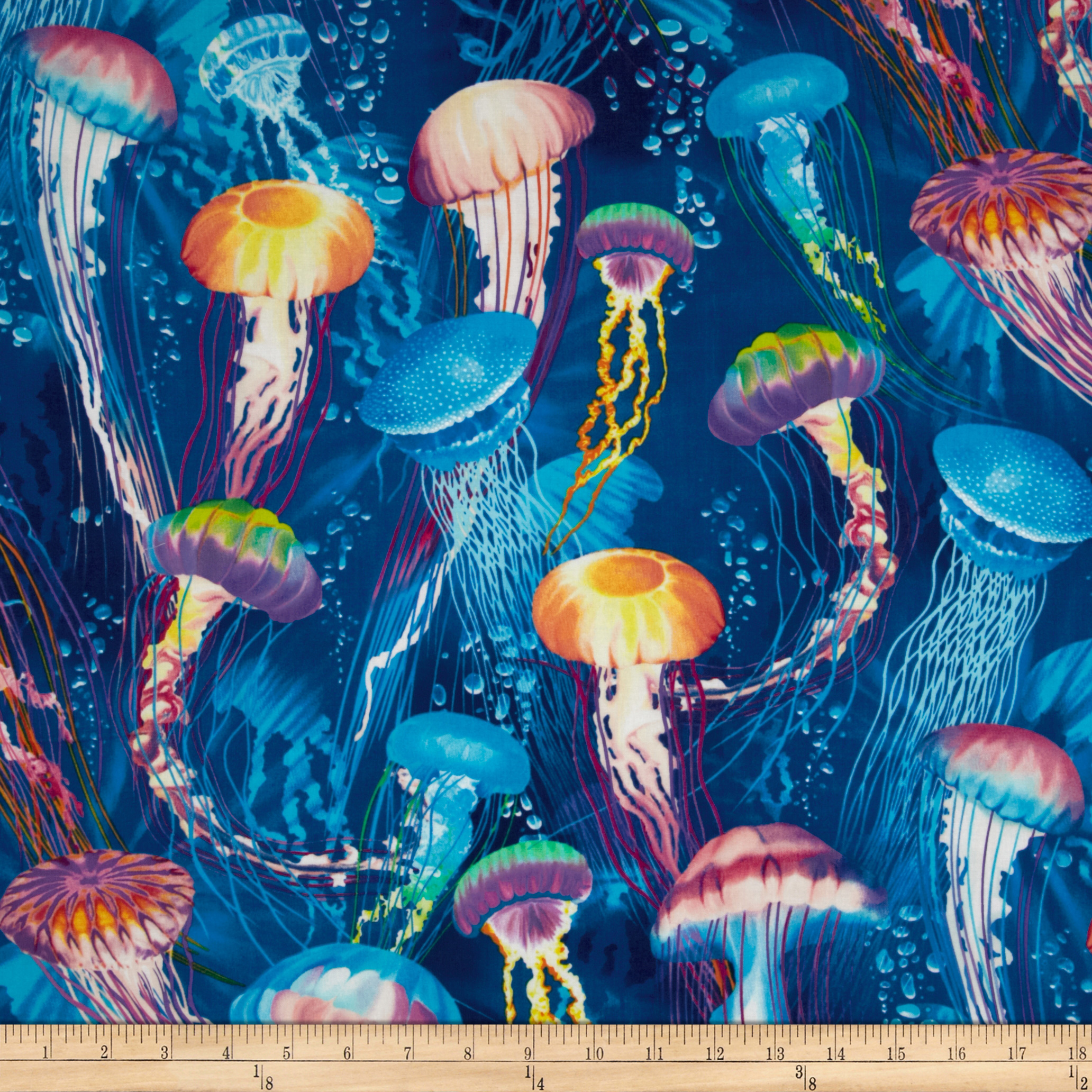 Timeless Treasures Jellyfish Blue Fabric