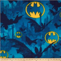Batman Fleece Bats & Symbols Blue/Yellow