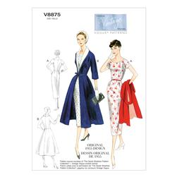 Vogue Misses' Dress, Belt, Coat and Detachable Collar Pattern V8875 Size B50