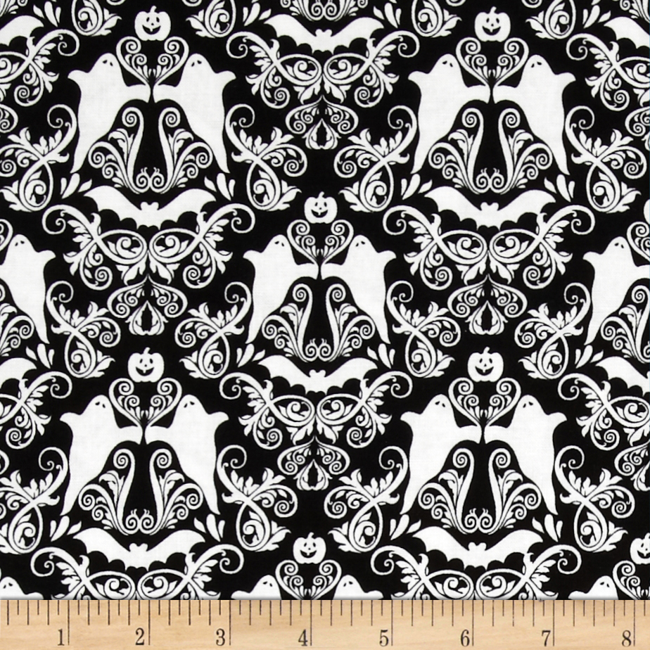 Hocus Pocus Halloween Damask Black/White