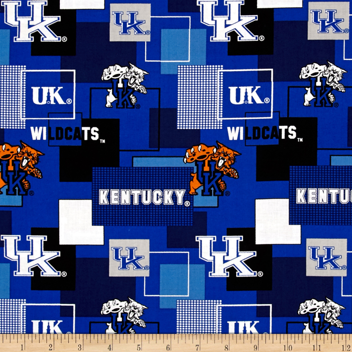 Collegiate Cotton Broadcloth University Of Kentucky Block Print Navy Fabric by Sykel in USA