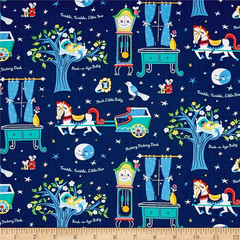 Nursery rhymes nighttime multi discount designer fabric for Nursery fabric