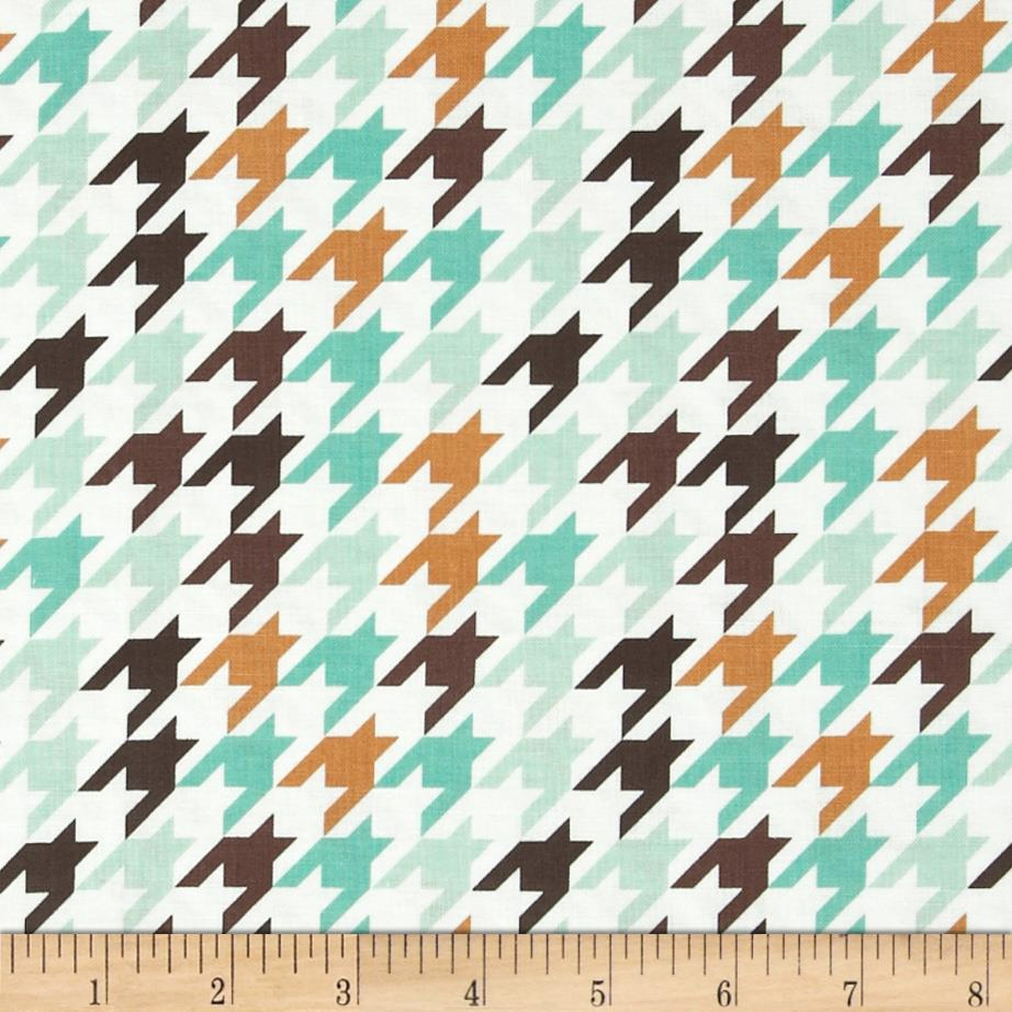Riley Blake Medium Houndstooth Seafoam/Brown