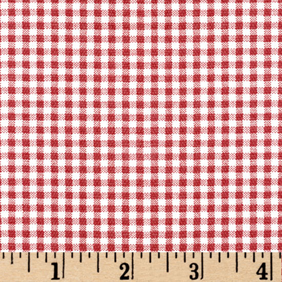 Small Check Cranberry Red/Cream Fabric