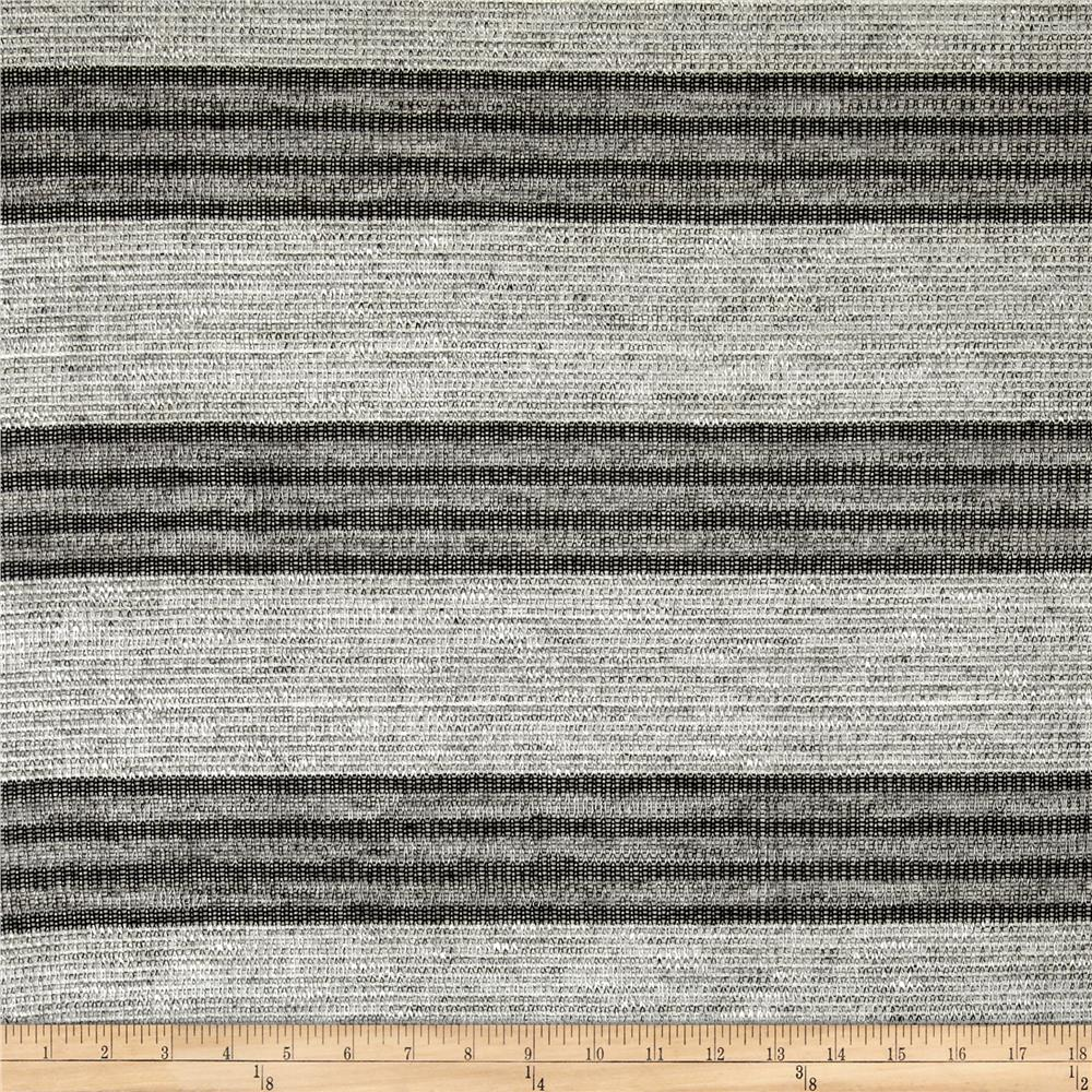 Lightweight Sweater Knit Black Stripes Gray