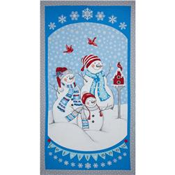 Let It Snow Glitter Snowman 24 In. Panel Blue