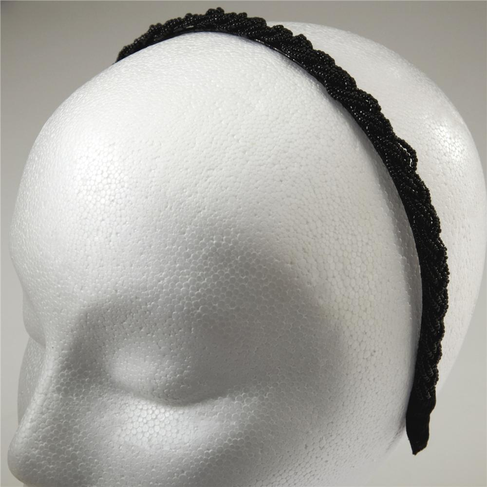 1/2'' Braided Rocaille Beaded Headband Black