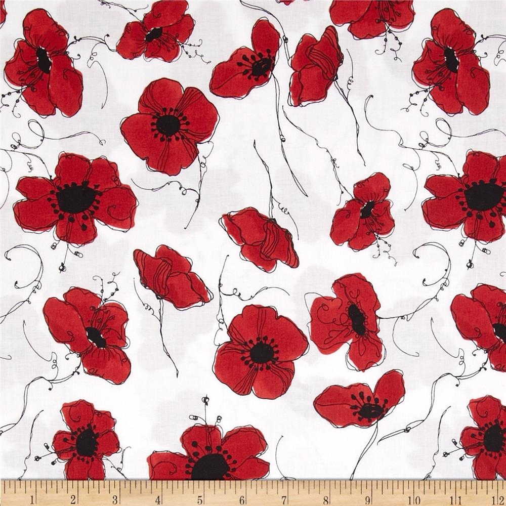 Loralie Lady In Red Poppies White - Discount Designer Fabric ...