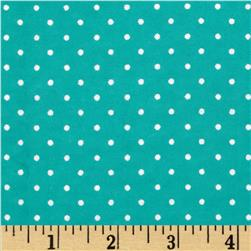 Aunt Polly's Flannel Mini Polka Dot Dark Aqua/White