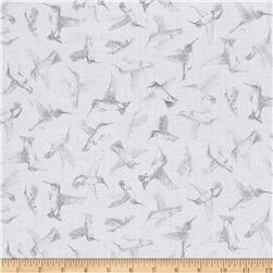 Hummingbirds Tonal Light Gray