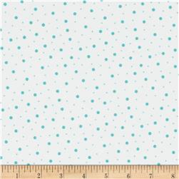 Kimberbell Little One Flannel Too! Flannel Random Dots White Teal