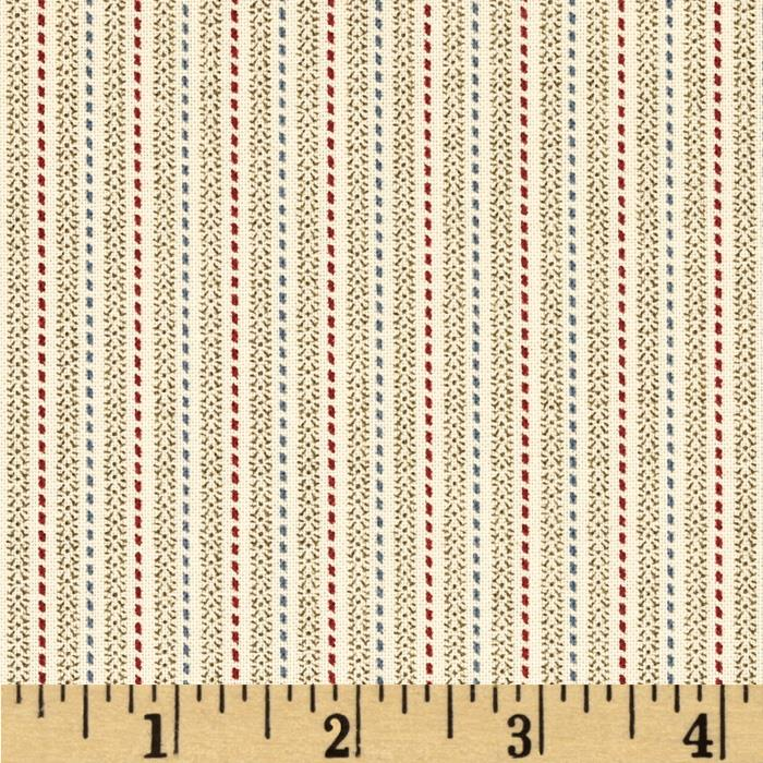 Birds of a Feather Stitched Stripe Ivory/Green