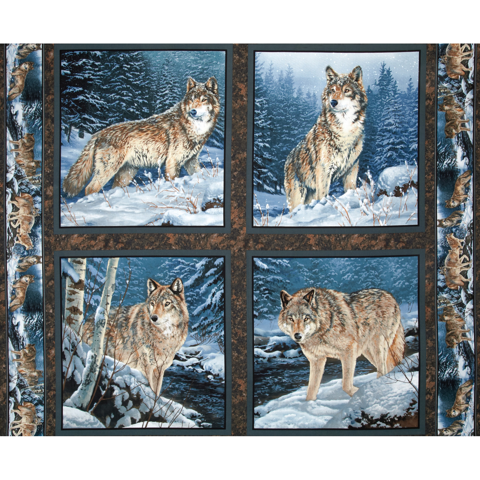 Wild Wings Contemplation Wolves Wall Pillow Panel Blue