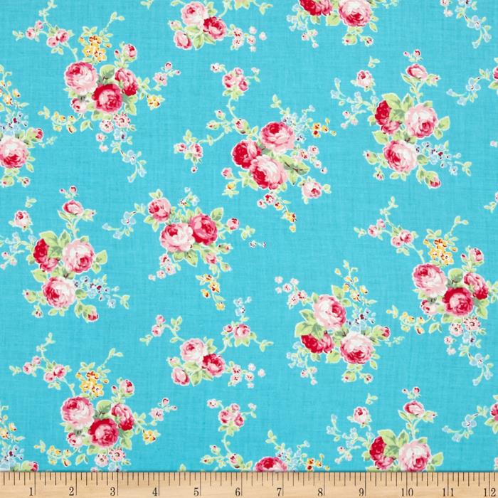 Lecien Flower Sugar Floral Trail Turquoise