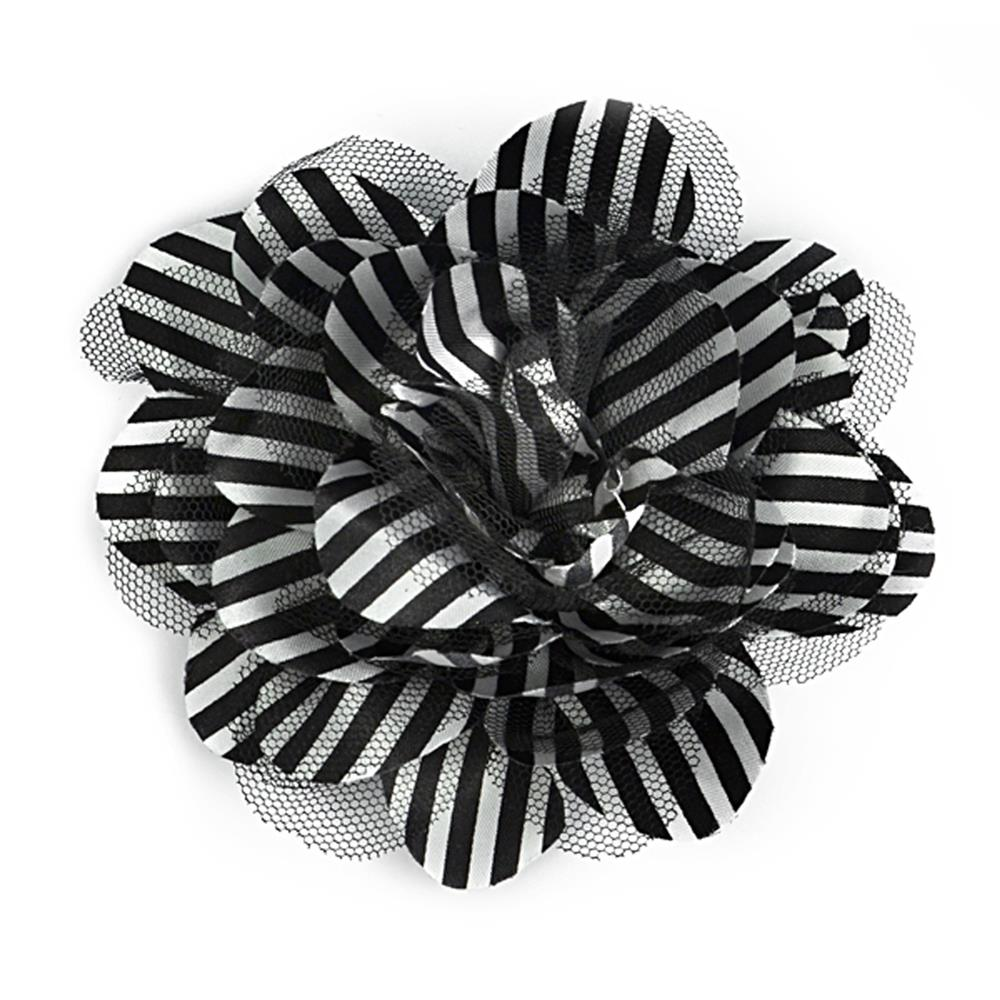 "3-3/4"" X 3-3/4"" Skinny Stripe Fabric and Tulle Brooch and Hair Clip Blk/White"