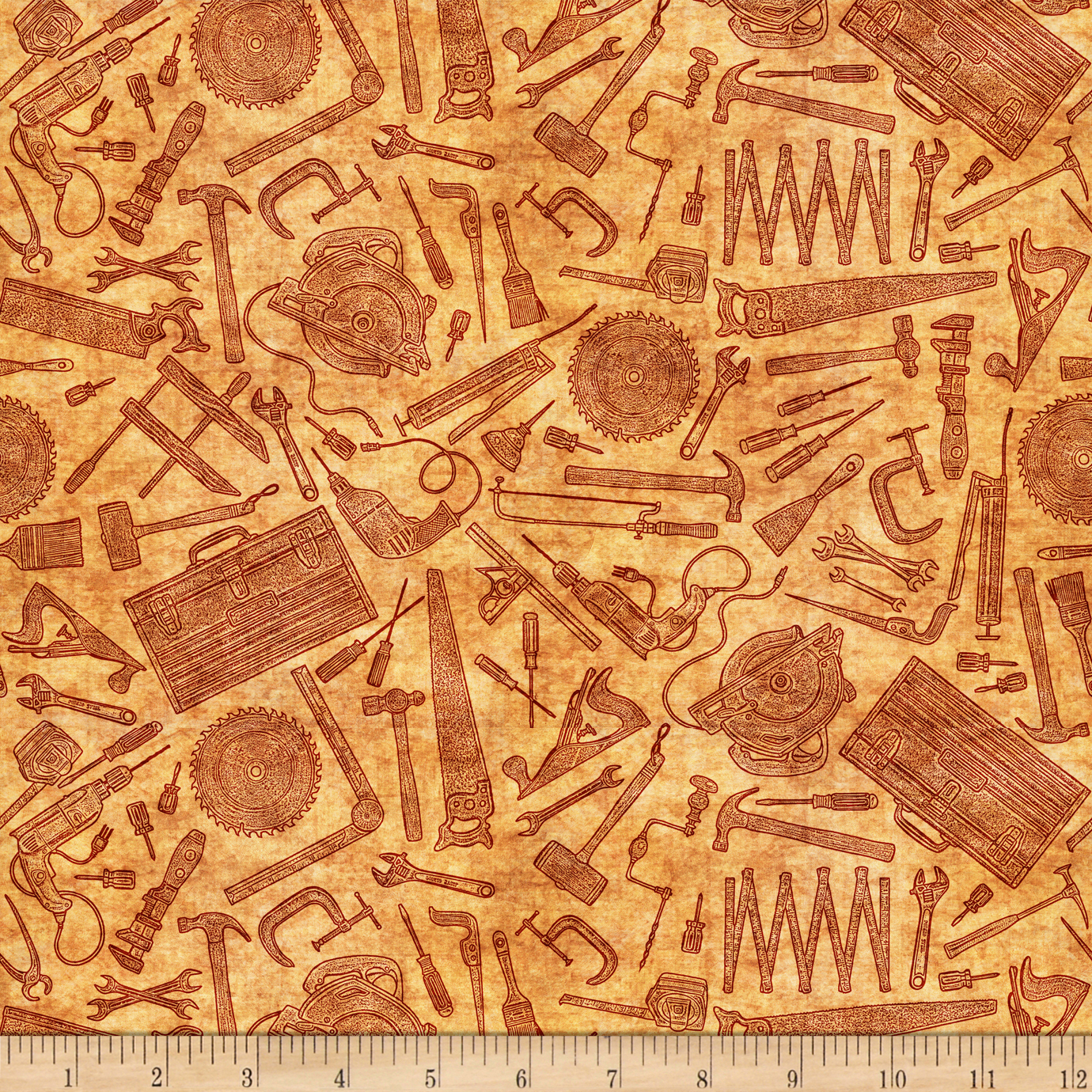 Image of Craftsman Tool Toile Gold Fabric