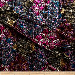 Telio Stretch Velvet Burnout Floral Blue/Purple