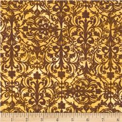 Windflower Flannel Damask Brown
