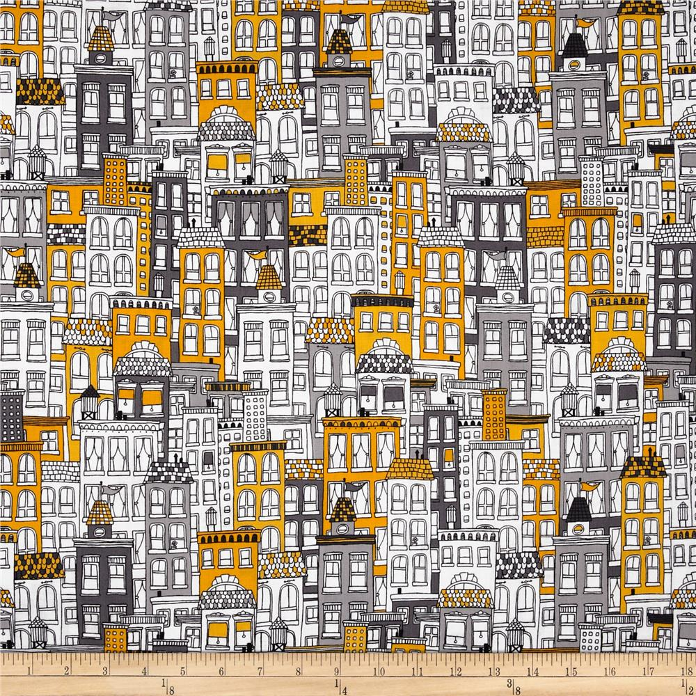 Uptown Buildings Yellow/Grey