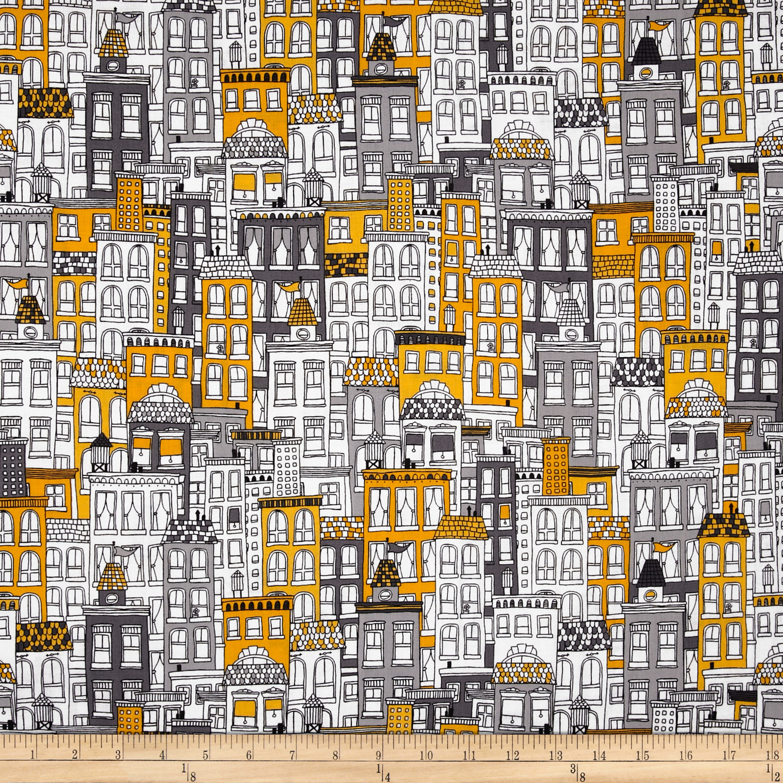 Uptown Buildings Yellow/Grey Fabric