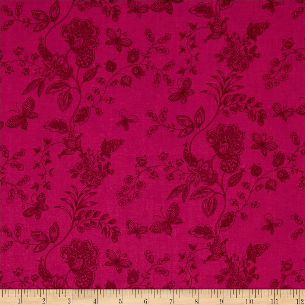 "108"" Wide Quilt Back Floral Butterfly Hot Pink"