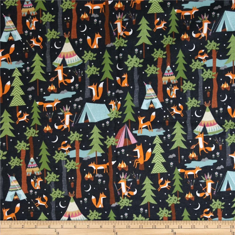 Timeless Treasures Under The Stars Flannel Fox Camp Steel