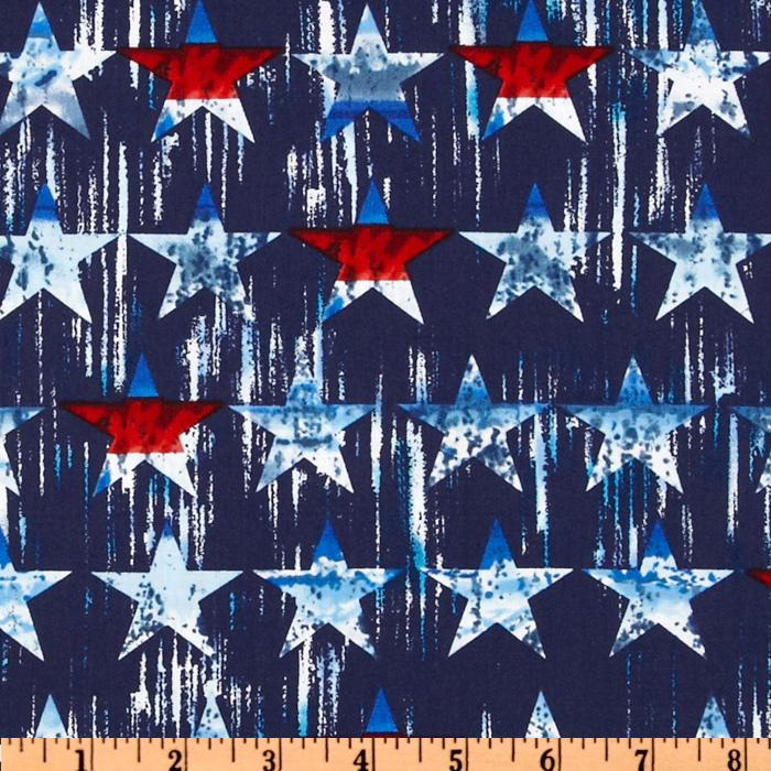Timeless Treasures Patriotic Textured Stars Blue