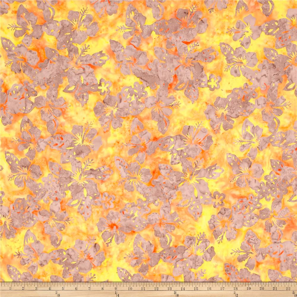 Indian Batik Central Java Hibiscus Orange /Yellow