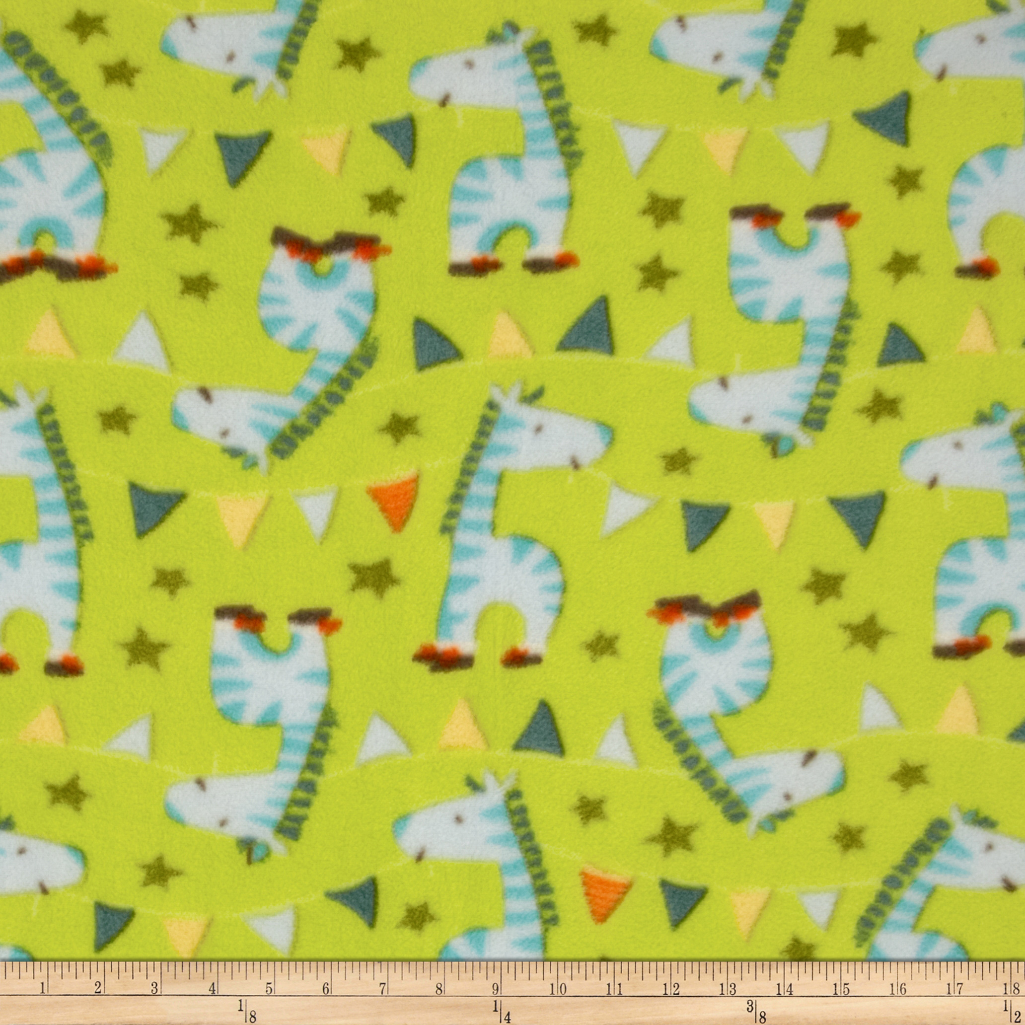 Cathy Loo Fleece Zebra Parade Green Fabric
