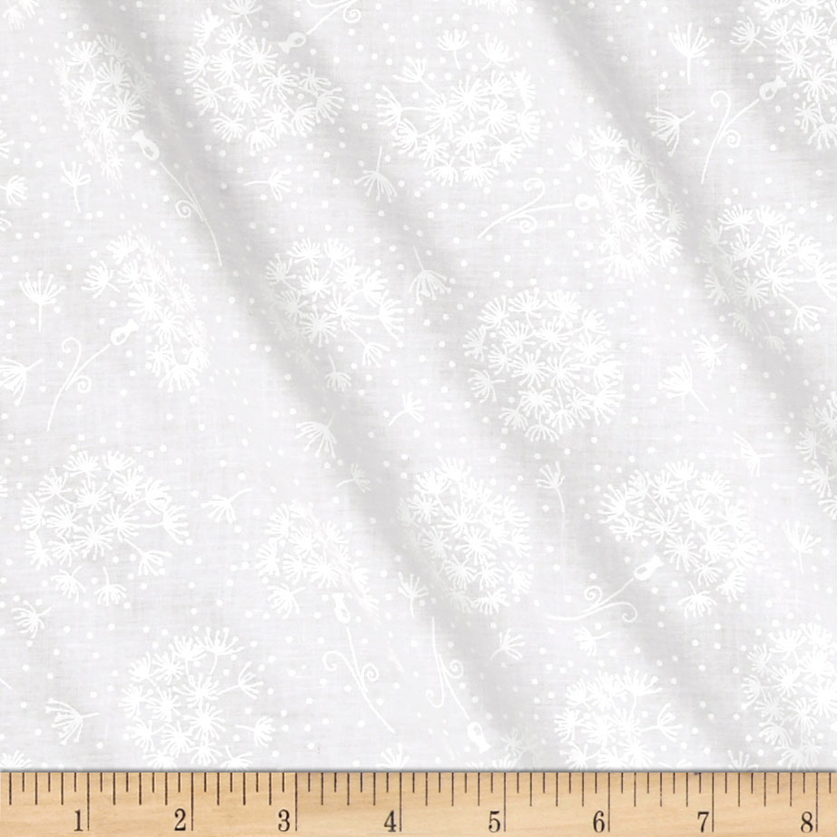 Fabric.com coupon: Tone On Tone Dots & Flowers White/White Fabric