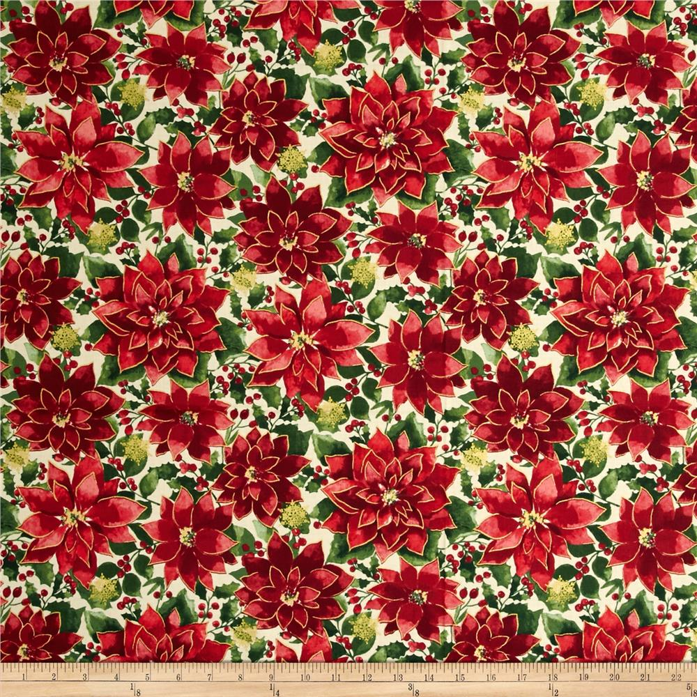 Holiday Traditions Metallic Poinsettias Multi