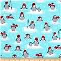Kaufman Polar Pals Holiday Penguins Aqua
