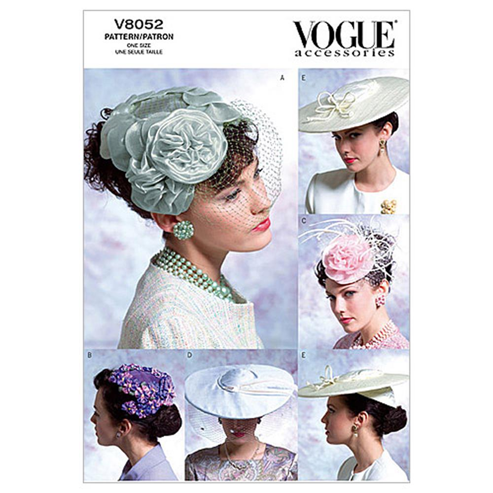Vogue Misses' Vintage Hats Pattern V8052 Size OSZ