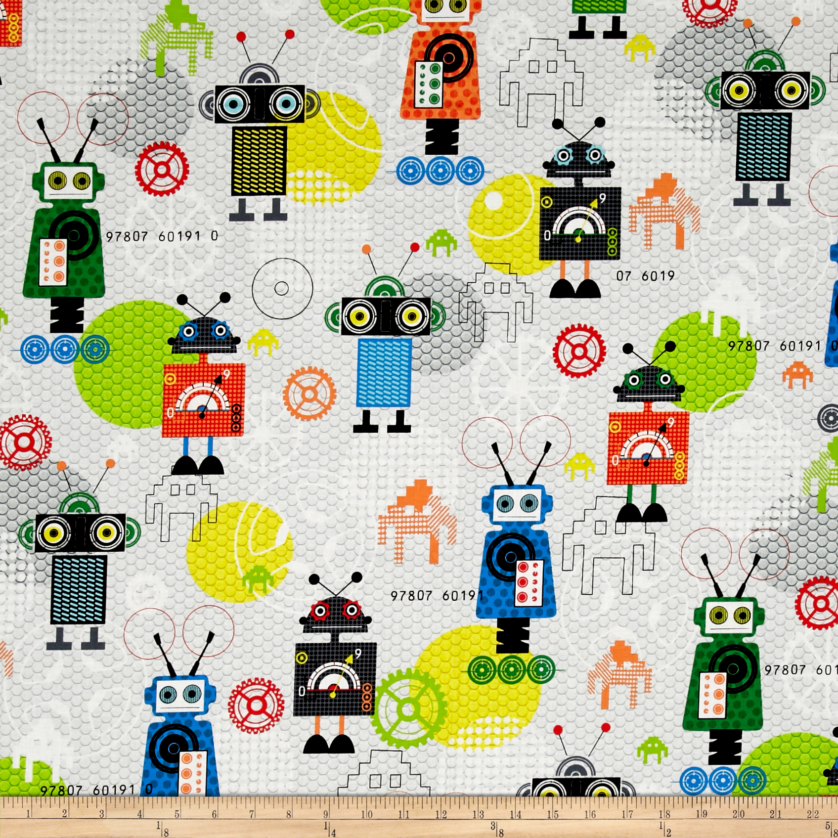 Ibot Robot Bots Grey Fabric by Red Rooster in USA