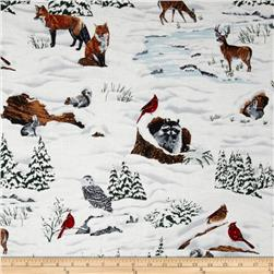 Snowy Peak Metallic Winter Animal Scenic Frost/Gold