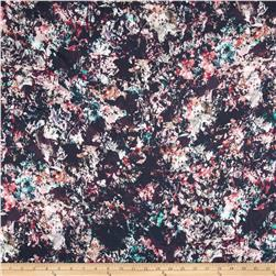French Designer Rayon Challis Fragmented Floral Black/Pink/Blue/Orange