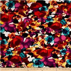Telio Paola Pique Double Knit Orange/Violette Abstract Rose