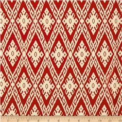 Rayon Challis Tribal Ikat Rust/Cream