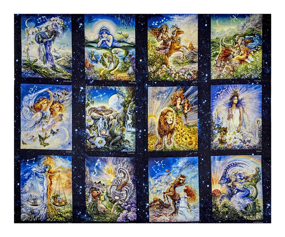 Cosmic Odyssey Digital Print 36'' Zodiac Panel Celestials Fabric By The Yard