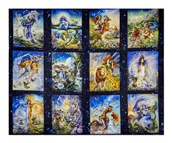 "Cosmic Odyssey Digital Print 36"" Zodiac Panel Celestials"