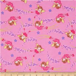 Comfy Flannel Angels & Stars Pink Fabric