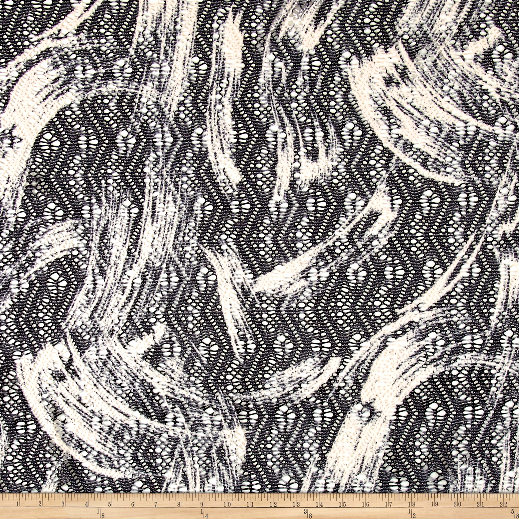 Stretch Mesh Abstract Black/White Fabric
