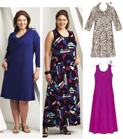 Kwik Sew Cowl & Scoop Neck Dresses Plus Size Pattern