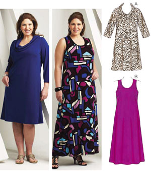 Image of Kwik Sew Cowl & Scoop Neck Dresses Plus Size Pattern