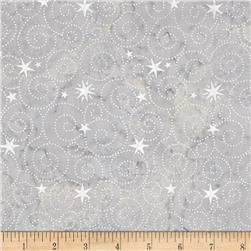 Island Batik Tinsel Metallic Star Swirl Grey