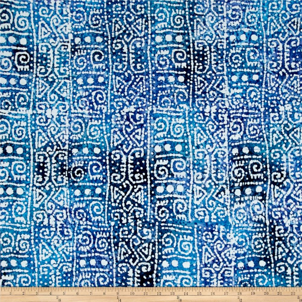 Indian Batik Cascades Tribal Stripe Blue