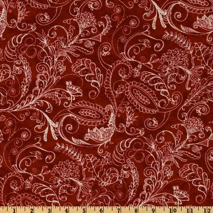 108'' Complementary Quilt Backing Dotty Paisley Burnt Red