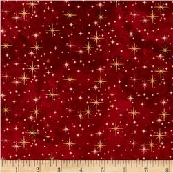 Reindeer Prance Metallic Shimmering Lights Cranberry/Gold