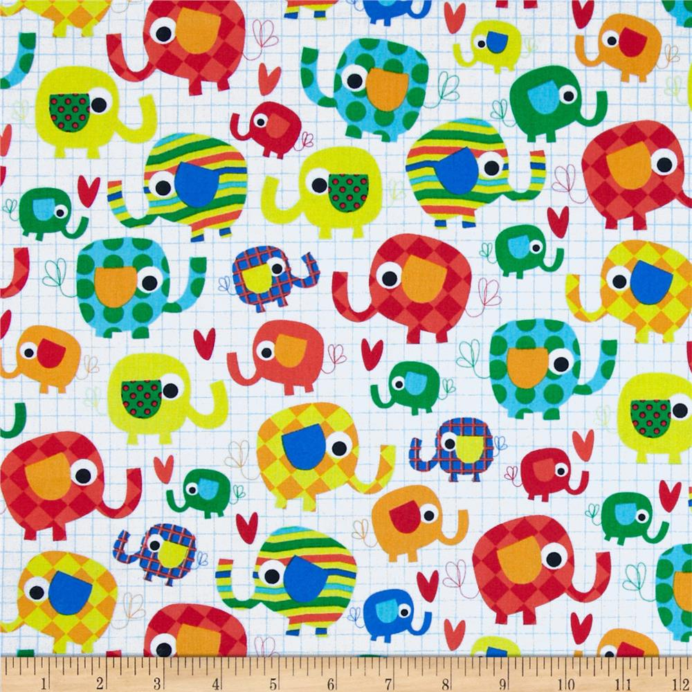 Timeless treasures organic elephants candy discount for Elephant fabric