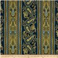 Timeless Treasures Majesty Metallic Paisley Stripe Navy